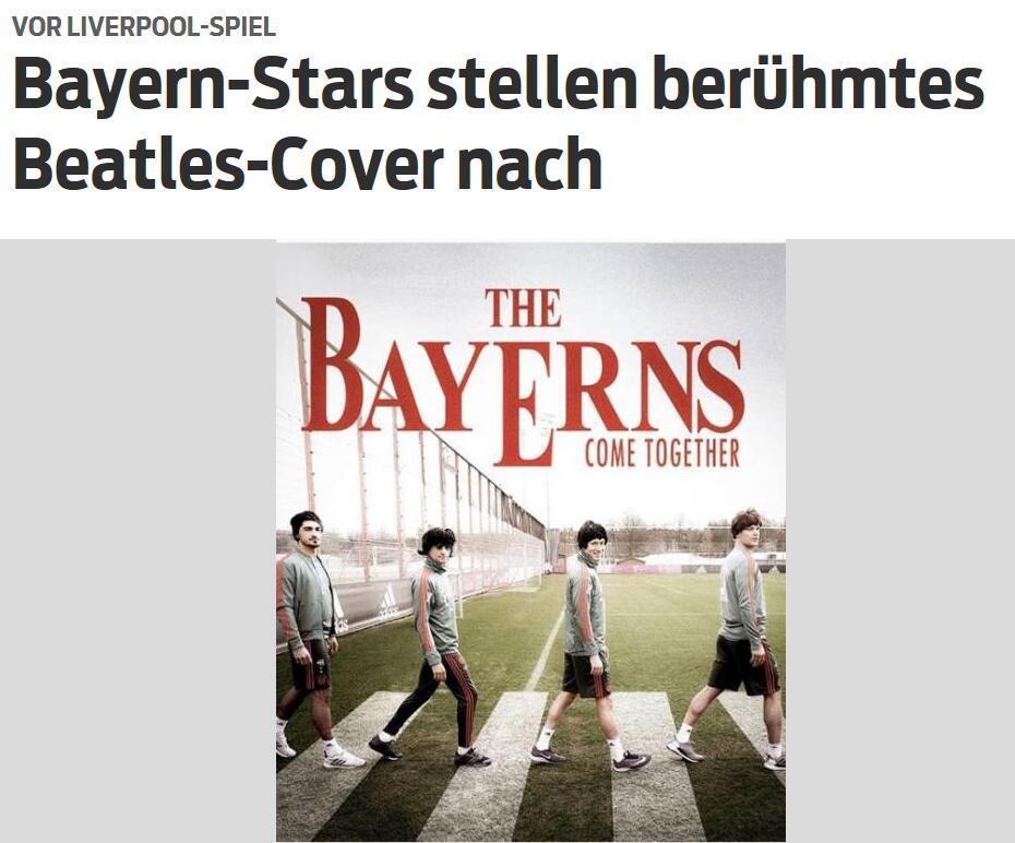 预热欧冠战红军!拜仁发布特别海报 致敬披头士